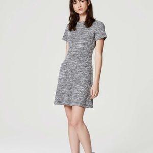 LOFT Tweed Pocket Flare Dress